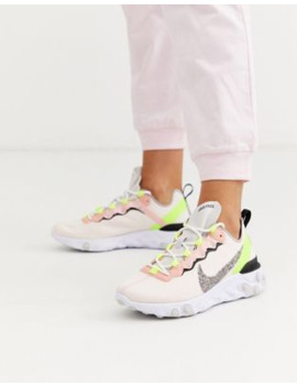 Nike Pink And Green React Element 55 Trainers by Nike