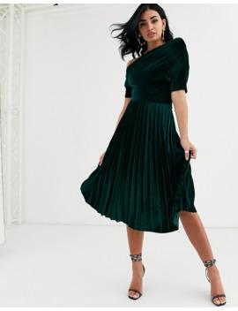 Asos Design Fallen Ruched Shoulder Pleated Midi Dress In Velvet by Asos Design