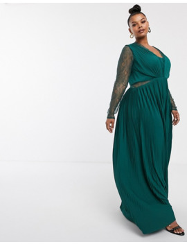 Asos Design Curve Lace And Pleat Long Sleeve Maxi Dress by Asos Design