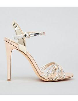 Rose Gold Silver And Gold Heeled Sandals by New Look