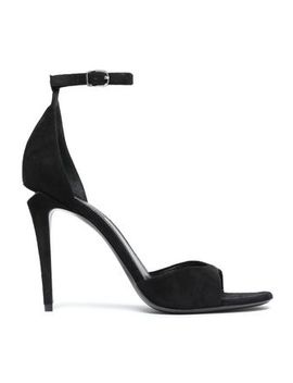 Cutout Silver Tone Trimmed Suede Sandals by Alexander Wang
