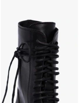 Black Leather Combat Boots by Ann Demeulemeester