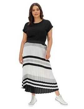 Print Sunray Pleat Maxi Skirt by Simply Be