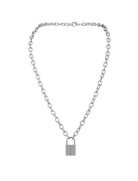 Popular Pendant Link Chain Lock Necklace   Silver by Zaful