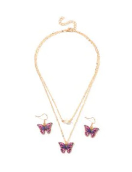 Popular Butterfly Layers Necklace Earrings Set   Purple by Zaful