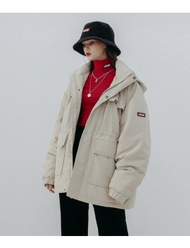 Hide Logo Patch Hooded Beige Parka by Mixxmix