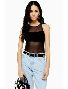 Mesh Ruched Bodysuit In Black by Topshop