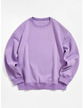 Popular Sale Solid Color Crew Neck Fleece Basic Sweatshirt   Purple 2xl by Zaful