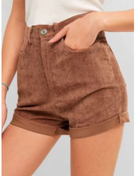 Sale High Waisted Plain Cuffed Shorts   Chestnut L by Zaful