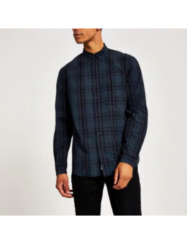 Navy Check Long Sleeve Regular Fit Shirt by River Island