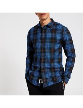 Blue Check Regular Fit Shirt by River Island