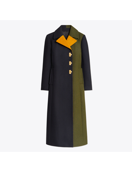 Color Block Wool Coat by Tory Burch