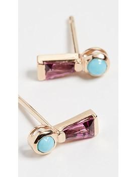 14k Keyhole Turquoise And Garnet Stud Earrings by Scosha