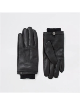 Black Leather Cuffed Gloves by River Island