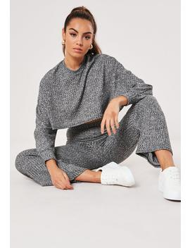 Gray Cropped Batwing Sweatshirt Wide Leg Co Ord Set by Missguided