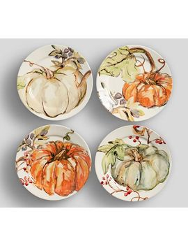 Harvest Pumpkin Appetizer Plates, Set Of 4   Assorted by Pottery Barn