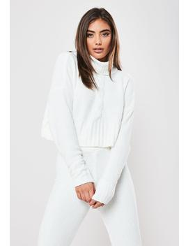 White Co Ord Chenille Roll Neck Cable Sweater by Missguided