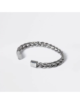 Silver Colour Plaited Cuff Bracelet by River Island