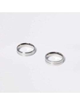 silver-colour-ridged-ring-2-pack by river-island