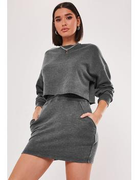 Dark Gray Co Ord Washed Mini Skirt by Missguided