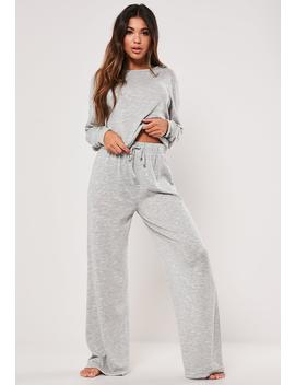 Gray Crop Top And Wide Leg Bottoms Loungewear Set by Missguided