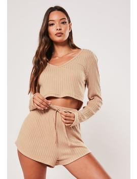 Camel Rib Mix And Match V Neck Loungewear Top by Missguided