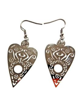 Metal Ouija Board Planchette Earrings Silver Cutout Mystic Game Occult Gothic 4 C by Unbranded