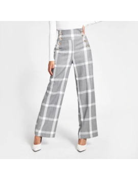Grey Check Button Front Wide Leg Trousers by River Island