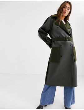 Topshop   Trench Coat Réversible Imitation Peau De Mouton   Kaki by Topshop