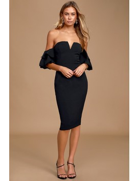 Out Late Black Puff Sleeve Off The Shoulder Bodycon Midi Dress by Lulus