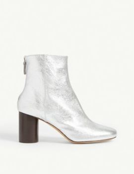 Sacha Metallic Leather Ankle Boots by Sandro