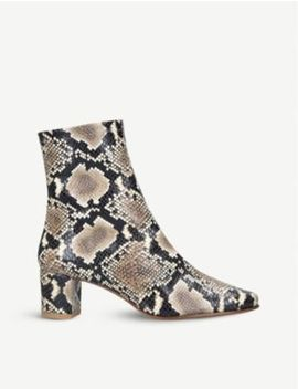 Sofia Snake Embossed Leather Heeled Ankle Boots by By Far