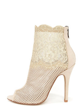 Chinese Laundry Jeopardy Nude Mesh And Lace Booties by Chinese Laundry