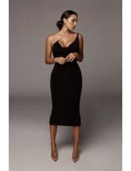 Black Amarie Rhinestone Strap Dress by Jluxlabel