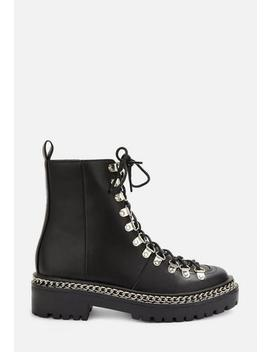Black Chunky Chain Lace Up Ankle Boots by Missguided