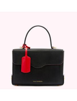 Black Leather Queenie Handbag by Lulu Guinness