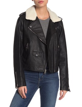 Faux Shearling Collar Faux Leather Moto Jacket by Levi's