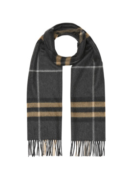 Men's Giant Check Cashmere Scarf by Burberry