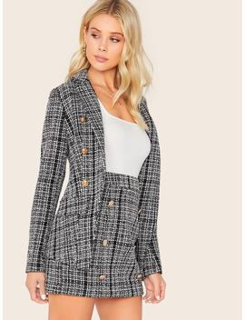 SheinDouble Breasted Notched Collar Tweed Blazer & Skirt Set by Shein