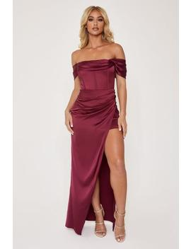 Neo Corsetted Drape Off Shoulder Maxi Dress   Burgundy by Meshki
