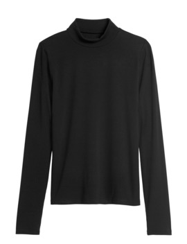 Ribbed Mock Neck T Shirt by Banana Repbulic