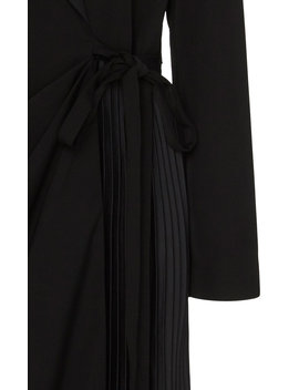 Pleated Satin Wrap Dress by Self Portrait