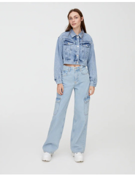 Denim Jacket With Yoke Detail by Pull & Bear