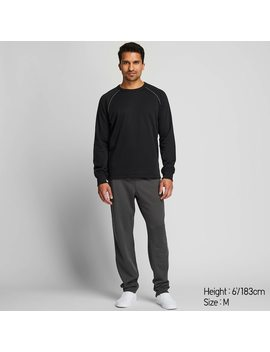 Men Fleece Lined Long Sleeved Sweat Lounge Set by Uniqlo