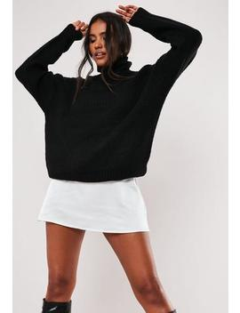 Black Boyfriend Roll Neck Jumper by Missguided