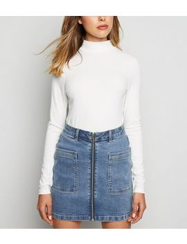 Jdy Bright Blue Zip Front Denim Skirt by New Look