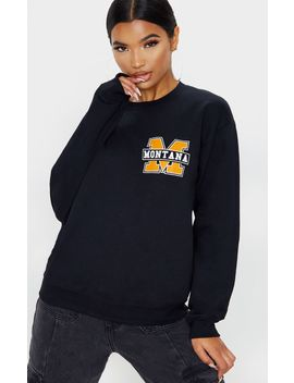 black-montana-slogan-sweater by prettylittlething