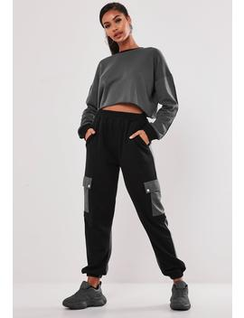 Blue Co Ord Color Block Pocket Joggers by Missguided