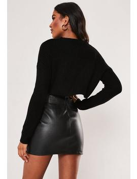 Black Basic Super Cropped Knitted Jumper by Missguided