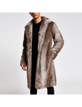 Brown Faux Fur Overcoat by River Island